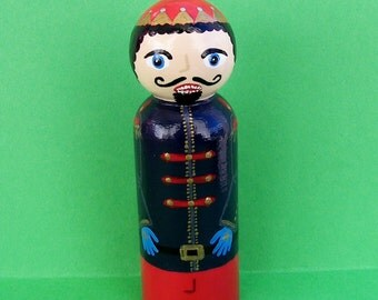 Hand Painted Love Boxes Nutcracker Prince Peg Doll Wood