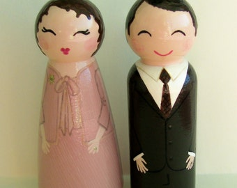 Hand Painted Love Boxes Custom Wedding Anniversary Bride and Groom Cake Topper Doll Wood