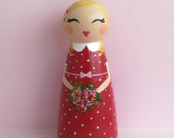 Hand Painted Love Boxes Sweet Valentinein Red Peg Doll Wood