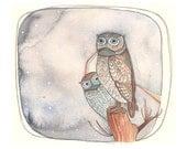 Owl Art Print - Wall Art - Home Decor Art Print - Watercolor Art Print - Art for Kids - Owl Art - Owl Art Print - 8x10 Print - Peek - A -Who