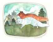 Art Print - Watercolor Art Print - Wall Decor - Home Decor Wall Art - Fox Art - Fox Art Print - 8x10 Print - Winter Fox Summer Fox