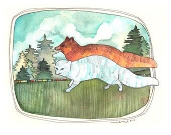 Art - Art Print - Watercolor Print - Illustration Art - Fox Illustration - Fox Art - Fox Art Print - 8x10 Print - Winter Fox Summer Fox