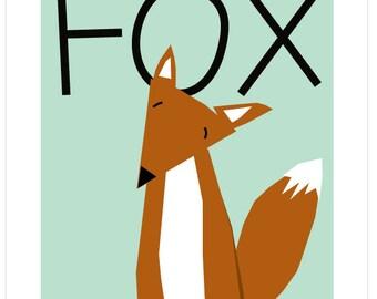 Sweet fox baby art print in  mat mint green nursery decor
