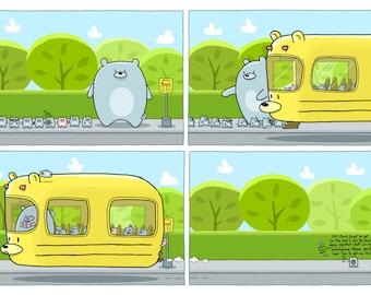 The Bear Bus 12x18 Art Print