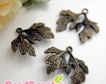 CH-ME-03276 - Nickel Free, Lead Free, Antique Brass,2 rose leaf, 4 pcs