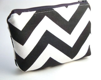 Flat Bottomed Zippered Pouch-Black and White Chevron