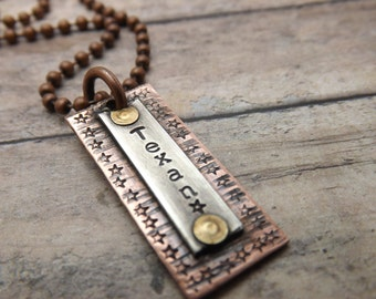 Hand-stamped-personalized necklace-riveted-texan necklace