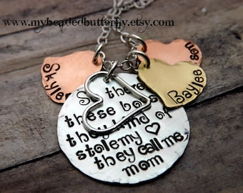 Valentines day-Hand stamped jewelry-so theres these boys... mommy necklace with charms