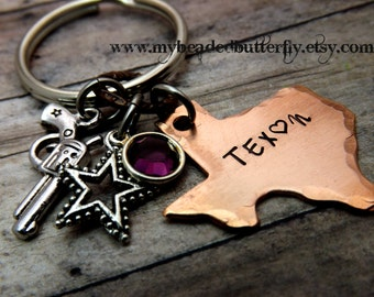 Texas-keychain-ornament-handstamped-personalized-Texan-pistol-revolver-star-bling