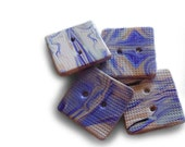 Square purple buttons, polymer clay, handmade, textured surface, beige, cream, set of 4