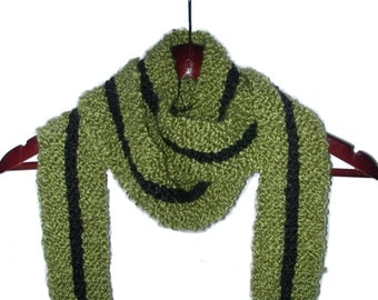 Fringed Scarf - Green Black Racing Stripe - Hand Knit - Acrylic