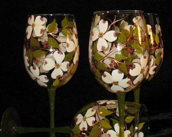 SPRING Dogwood Blossom Hand Painted Wine Glasses- Dishwasher safe - Set of 2 - Artist Originals