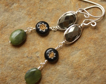 Wire Wrapped Pyrite, Millefiori, Green Jade Earrings, Sterling Silver Dangles