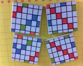 Up-Cycled SCRABBLE or MONOPOLY COASTERS- set of four hand made, one of a kind tile & board by GmaJanisew