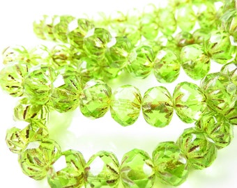 9mm x 6mm Czech Glass Peridot Crullers - 10 Beads - LCCMIS080