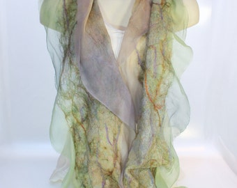 Felt Scarf-Shawl sheer cashmere-soft merino wrap on painted silk -   Cactus Green Peach Lilac