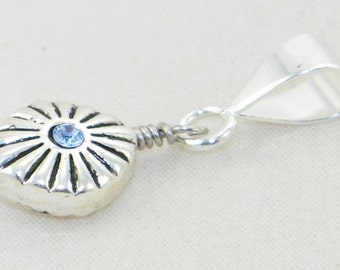 Handmade silver plate diamond with blue swarovski crystals large hole dangle charm bead for European bracelets and necklaces