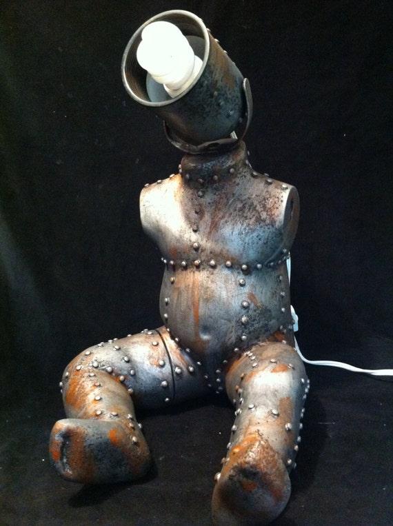 Industrial Steampunk Baby Mannequin  Lamp desk lamp night light sculpture Loft