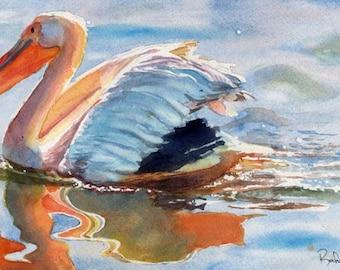Pelican art Print of my watercolor painting Ocean Sea Bird