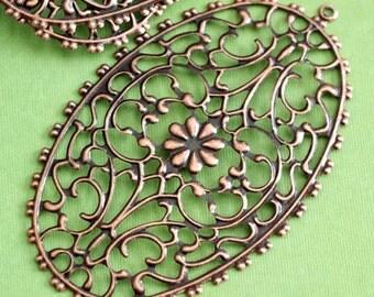 10pcs 76mm Antique Copper Oval  Filigree Pendants R0090-R