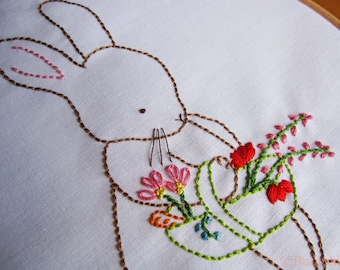 Hand Embroidery PDF Pattern - Over the Garden Gate - Bunny Rabbit