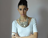 Crocheted Necklace Mink Beige Grey Gray Champagne Handmade - Elegant Fashion Flowers Rose