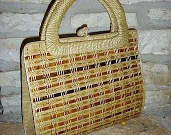 Vintage 1960s midcentury bamboo wicker basket handbag