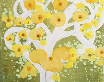 Vintage Inspired Landscape Original Canvas Acrylic Painting Flowers & Nature Cherry Blossoms Green Yellow White by Heather Lange