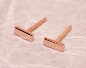 5mm x 2mm Solid 14k Rose Gold Stud Earrings Small Pink Gold Bar Rectangles by SARANTOS