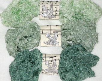 Crinkled Seam Binding - 18 Yards- Greens - Icy Green RIBBON - Sage Greens - GOING GREEN - Shabby Ribbon, Bluebird Lane Ribbon, Decorations