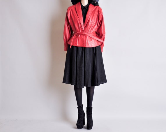 red leather kimono jacket / peplum / m