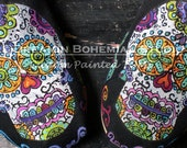 Painted Shoes, Painted TOMS, Custom TOMS Shoes, Sugar Skulls, Sugar Skull Shoes, Day of the Dead, Hand Painted TOMS, Skull Shoes, Rainbow