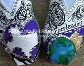 Cheer Team Spirit Design painted on YOUR TOMS with Mega Cystals added TOMS included