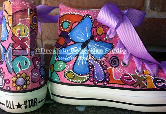 Custom Hand Painted Pink Chuck Taylor High Top Converse shoes with Colorful Butterflies Paisleys and Flowers for baby or toddler