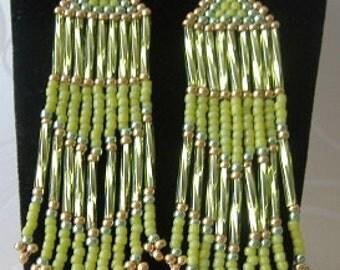 Long Fringe Earrings Lime and Gold and Metallic Seed Bead Earrings