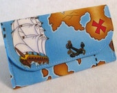 Pirate mini wallet card pouch blue treasure map