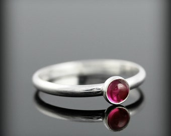 Ruby ring - recycled sterling silver ring with bezel set 4mm gemstone, July birthstone