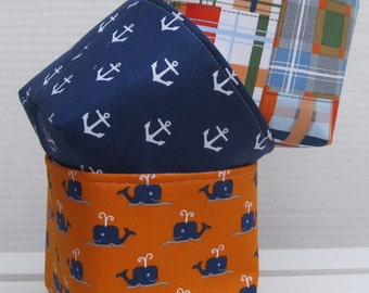 Mini Fabric Storage Container Organizer Bins - Set of 3 - Whales - Anchors - Madras Plaid - Nautical