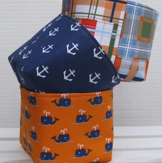 Madras Storage Baskets: Mini Fabric Storage Container Organizer Bins Set Of By