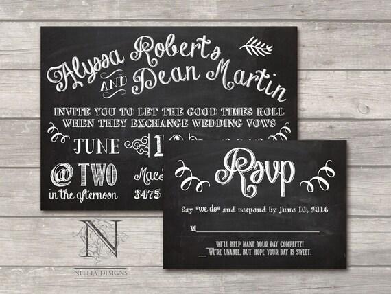 Chalkboard Wedding Invitations: Items Similar To Chalkboard Wedding Invitations