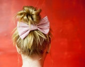 dark pink and white striped, bobbie pin hairbow