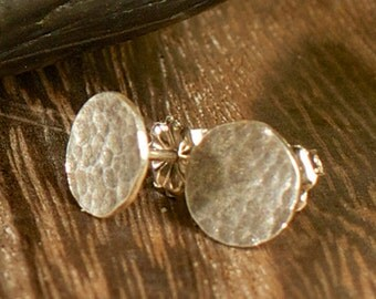 Cobblestone Stud Dot Earrings-Sterling Silver