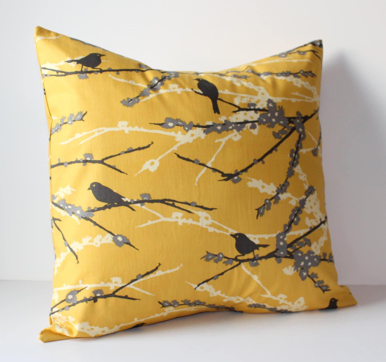 decorative pillows cover mustard yellow gray birds 18 x. Black Bedroom Furniture Sets. Home Design Ideas