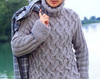 Men's Sweater   Fisherman Sweater Hand Knit With Cable pattern  Made to order