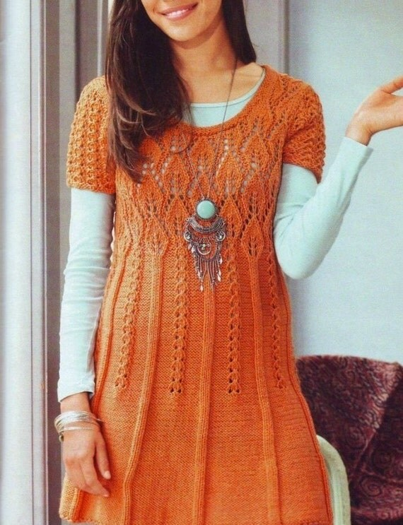 Items similar to Hand Knit Long Tunic Dress Lace Pattern With Leaf pattern fr...