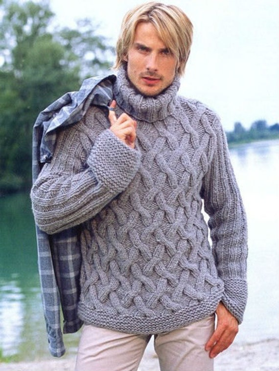 Mens Sweater Fisherman Sweater Hand Knit With Cable