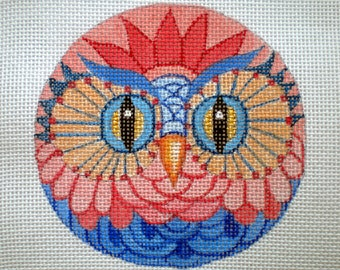 Handpainted needlepoint canvas Blue and Coral Owl
