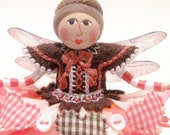 Woodland Fairy Art Doll With Gingham Heart Garland, Hand Embroidered
