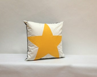 Recycled Sail Throw Pillows - Yellow Star