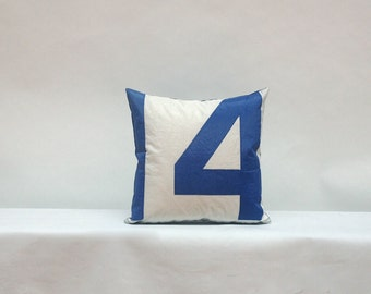 Recycled Sail Cloth Pillow - Blue number 14
